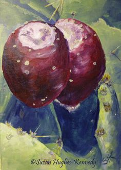 Days 25, 26, & 27 Prickly Pear Duo 5″x7″ Acrylic on Unstretched Canvas $25.00