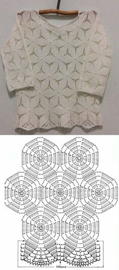 Beautiful Blouses Made With Cro Square - Diy Crafts Gilet Crochet, Crochet Tunic, Crochet Scarves, Crochet Lace, Crochet Leaf Patterns, Crochet Stitches, Crochet T Shirts, Crochet Clothes, Mode Crochet