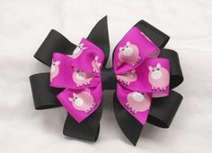 Cute Pink and Black French Barrette Hair Clip Bow with Adorable Pink Piggies