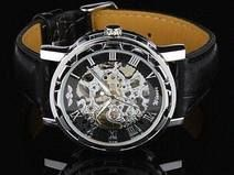 Buy Hand wind watch Mechanical steampunk skeleton silvery dial watch black leather luxury Men's Watch Handmade wristwatch valentine's gift for men him at Wish - Shopping Made Fun Watch Belt, Watch Case, Leather Men, Black Leather, Mens Valentines Gifts, Shops, Obi, Bracelet Cuir, Luxury Watches For Men