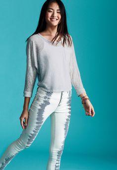 Gray tie dye jeans