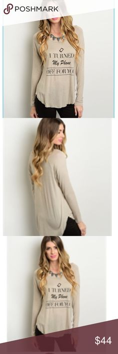🎉 COMING SOON 🎉 🎉 Coming soon 🎉 Made in USA. Dark taupe long-sleep tee. Adorable with black skinny jeans! My favorite work staff meeting comfy go to top. Available in S, M, L. Tops Tees - Long Sleeve