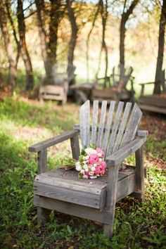 Weathered adirondack chair.