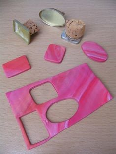 Cookie cutter to use on Fimo by gluing a cork or wooden handle to makeup (eye shadow, blush) boxes