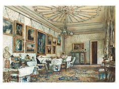 The Salon of Count Lanckoronski  THE SALON IN THE APARTMENT OF COUNT LANCKORONSKI IN VIENNA  Rudolf von Alt, 1881  Watercolor, white gouache on white wove paper
