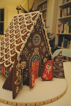 Simple-Inspiring  Gingerbread House Ideas.  Here's one for Jessica! Take a look at all the gorgeous gingerbread houses on this site.