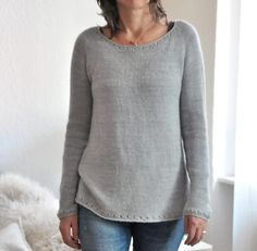 This sweater is reduced from any visible construction, classy and elegant with some cute little eyelet details for the fun to knit AND to wear. Christmas Knitting Patterns, Sweater Knitting Patterns, I Cord, Universal Yarn, Plymouth Yarn, Lang Yarns, Dress Gloves, Paintbox Yarn, Red Heart Yarn