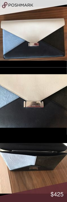 Celine Envelope Clutch Celine envelope clutch, white leather with light blue and green hair calf, with silver-tone hardware, three interior top compartments; single middle interior zip pocket, black leather lining and top push-lock closure. Includes dust bag.minor starches on white leather Celine Bags Clutches & Wristlets