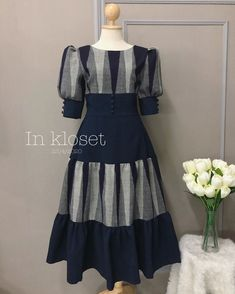 Trendy Dresses, Day Dresses, Cute Dresses, Vintage Dresses, Fashion Dresses, Batik Dress, Silk Dress, Traditional Dresses Designs, Myanmar Dress Design