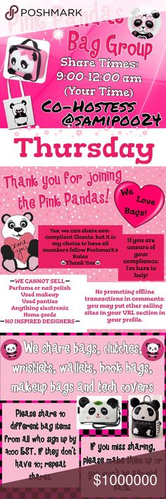 Congrats $$@upstateangel, @pursety $$$ 💞 🐼Thurs 🐼Sign up with your tag @_____.                         🐼Share 10 bag items per person signed up.      🐼Sharing begins at 9am & sign out by 12pm.      🐼Share some, mark the last person shared.      🐼 If they don't have 10, share until 10 are met.    🐼 Co-Hostess is Dawn @samipoo24.                 🐼 we have sold thousands of bags and are       happy to have you! Go Pink Pandas! Please don't miss days and if so, please make them up. 2…