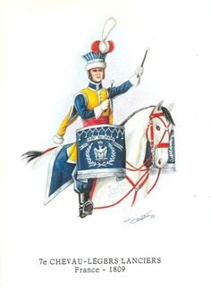 Chevau Légers Lanciers 7è - Timbalier- 1809 7è Chevau Légers Lanciers - Timbalier- 1809 War Drums, Napoleonic Wars, France, Military, Collection, Drummers, Empire, Paintings, Historia