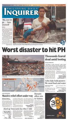 """Worst disaster to hit PH"" beneath a sad photo on the Philippine Daily Inquirer"