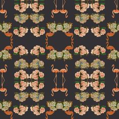 removable wallpaper flamingo peonies by Barbeline on Etsy