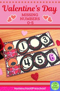These Valentine's Day Missing Numbers are the perfect addition for learning in your Math Centers Numbers Preschool, Teaching Kindergarten, Preschool Activities, Teaching Ideas, Morning Activities, Number Activities, Valentine Activities, Math Centers, Time Saving