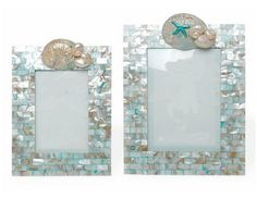 The Aqua Mother of Pearl Frames in 4×6 and 5×7 are a stunning accent for your favorite photograph. Select size and orientation; horizontal or vertical. The Aqua Mother of Pearl Frames in 4×6 and 5×7 are part of a unique collection of meticulously crafted frames designed by one of the world's most talented shell artisans, Marjorie Bloom. Each shell is placed by hand in order to create these one of a kind testimonials to the ocean's unspeakable majesty. $105-$135.