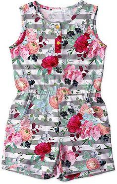 Gray Stripe & Floral Pocket Romper - Toddler & Girls #romper #babyclothes #ad