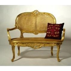 Gold 2-Seater Rattan Armchair - ELS411-GO