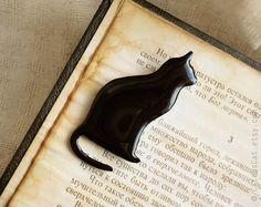 Black cat brooch cat jewelry cat brooch animal by CitrusCat, $23.99