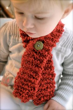 Toddler Baby Scarf with Button Cozy Crimson Red by chasitypetersen easy Christmas idea to make