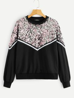 To find out about the Contrast Sequin Pullover at SHEIN, part of our latest Sweatshirts ready to shop online today! Teen Fashion Outfits, Girl Fashion, Girl Outfits, Cute Outfits, Womens Fashion, Looks Street Style, Jogging, Fashion News, Winter Outfits