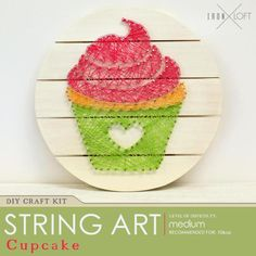 DIY Kit Cupcake String Art Pallet Sign  Celebrate free time together and creative fun! This kit is perfect for fun times together with children and adults. We recommend ages 10 and up.  Use our cupcake template or create your own design! With 36 skeins of embroidery cord in 18 different colors its easy to make this string art pallet decor your own.  THIS KIT INCLUDES: -- 12X12 Round Natural Wood Pallet with hanging hardware attached -- 2 oz. Acrylic Craft Paint (White) -- 36 Skeins of Craft…