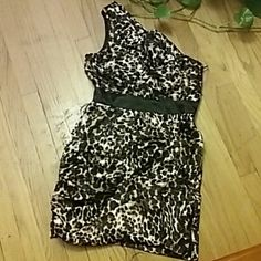 Snap Women Dress Women great condition leopard dress, left side zipper through out the side dress. Very comfortable and sexy!!! Snap Dresses One Shoulder