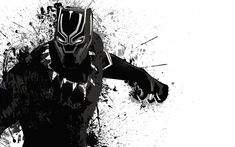Download wallpapers Black Panther, monochrome, 2018 movie, superheroes