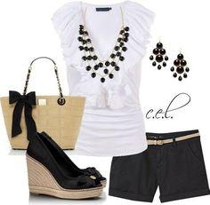 Me black & White short set