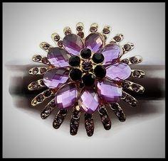 Grosse bague élastique fleur 3D strass couleur rose mauve métal doré - bijou fantaisie strass - idée cadeau - femme - fille - costume vénitien.