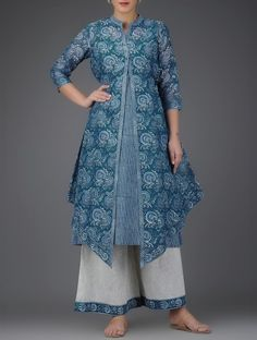 Indigo Block-Printed Asymmetrical Hem Chanderi Jacket with Cotton Slip (Set of 2)