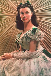 "Vivien Leigh, wearing ""the barbecue dress"" in Gone with the Wind."