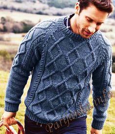 Пуловер с геометрическими косами (м) 154 Creations 15/16 Bergere de France №4769