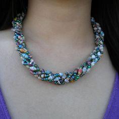paper bead torsade necklace