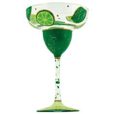Lolita Key Lime Pie Hand-Painted Margarita Glass