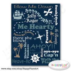 Printable Pirate Typography Wall Art  Colour & by HappyPlaceArt, $4.00