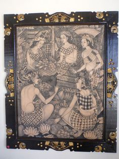 Balinese Original Market Painting Traditional Hand Carved Wood Frame 109cmx90cm
