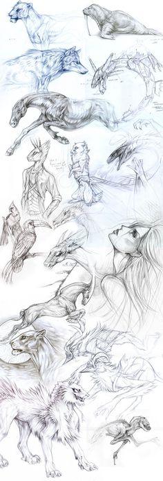 Fantasy Themed Sketchtes (Exileden on DeviantArt, 2014)
