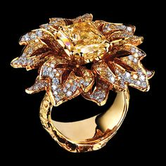 Narcissus Ring   18K yellow gold, 1 yellow diamond 5,49 ct, 192 yellow diamonds 1,67 ct, 195 diamonds 1,08 ct   Jewellery Theatre
