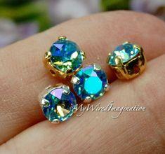 Aquamarine Glacier Blue, Swarovski Crystal, 29ss 6mm Crystal Chaton, Crystal Setting, Swarovski Sew On, Bright Ocean Blue Rhinestone