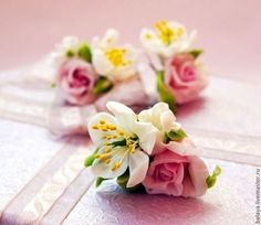 Комплект в стиле шебби шик с розами и вишней. В наличии! - бледно-розовый