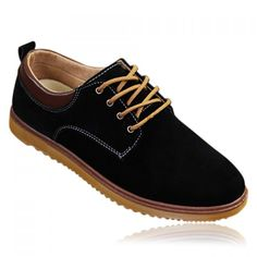 Casaul Style Suede and Stitching Design Men's Casual Shoes, BLACK, 41 in Men's Shoes   DressLily.com