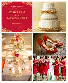 A gorgeous red and white themed wedding inspiration board featured on the Wedding Paper Divas blog.
