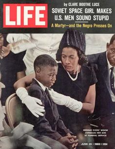 The widow and son of Medgar Evers on the cover of Life magazine