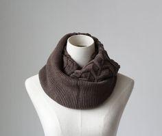 coffee knitted infinity scarf wave pattern by blackbeanblackbean, $9.65