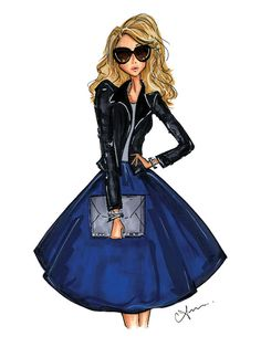 Fashion Illustration Print, Cobalt + Leather