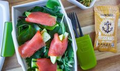 One of our favorite, easy, Whole 30 lunches! (Smoked salmon means the prep is really quick.)Goodbye boring salad, hello salmon rolls!