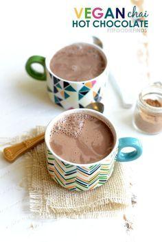 Vegan Chai Hot Chocolate- just 78 calories per serving! #healthy #recipe