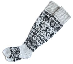 Items similar to Gray wool socks with Deer Knit wool socks Deer patterns Long wool socks above knee Winter wool socks Gift socks on Etsy Womens Wool Socks, Deer Pattern, Warm Socks, Scandinavian Style, Gray, Patterns, Knitting, Winter, Gifts