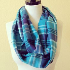 Jane Infinity Scarf - teal/navy blue plaid flannel by HandsFullDesigns on Etsy