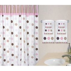 Pink and Brown Mod Dots Kids Bathroom Fabric Bath Shower Curtain
